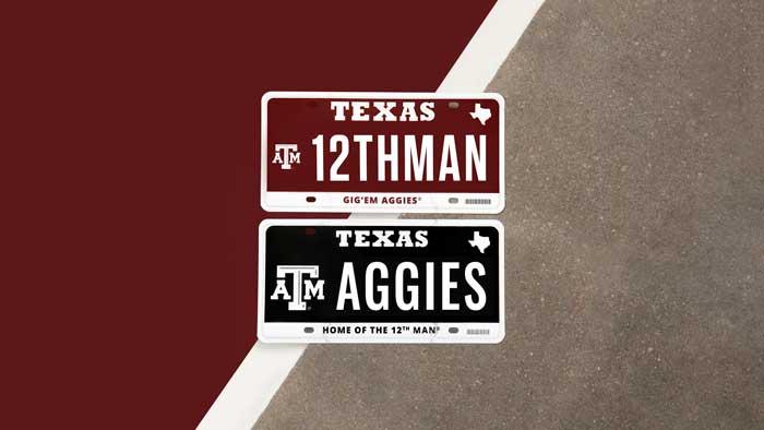 2 aggie license plates